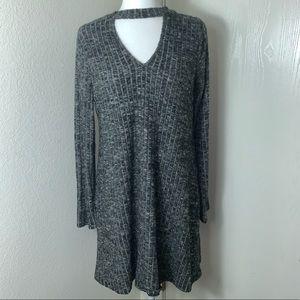 Gray Sweater v-neck chocker dress